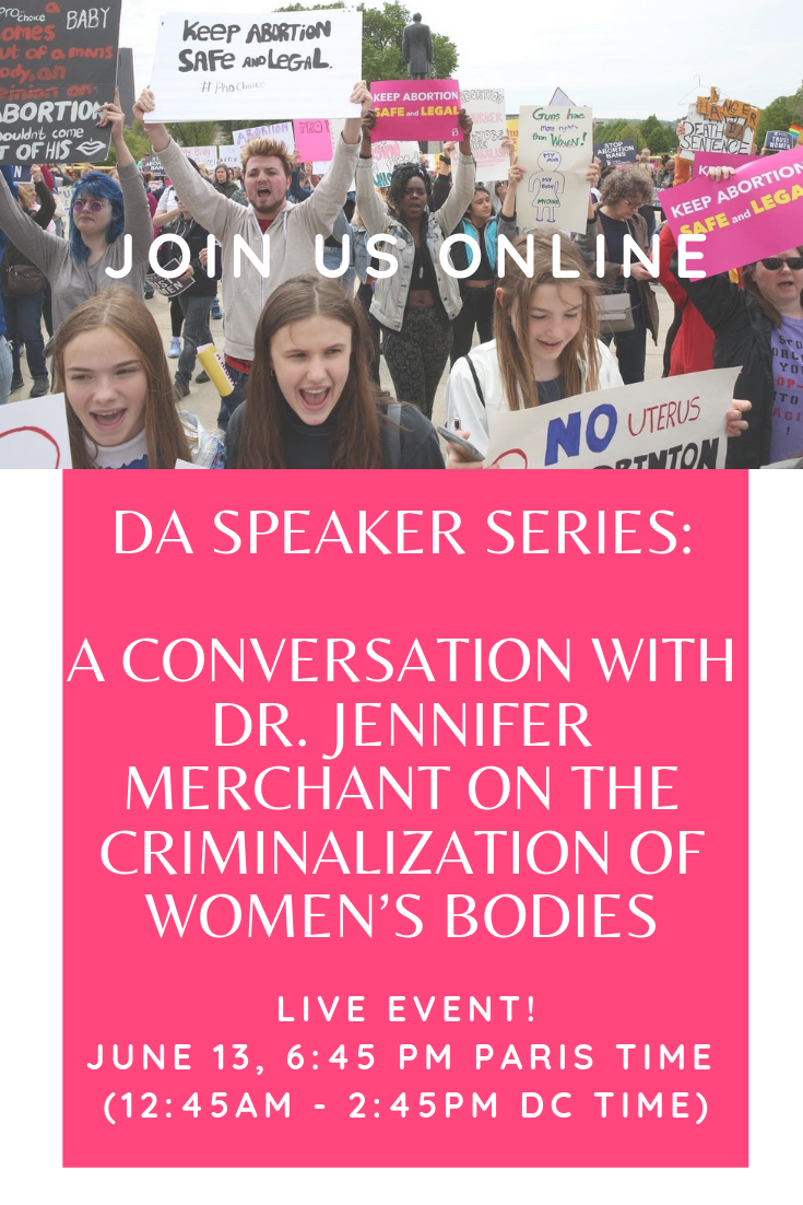 DA Speaker Series: A Conversation with D. Jennifer Merchant on the Criminalization of Women's Bodies