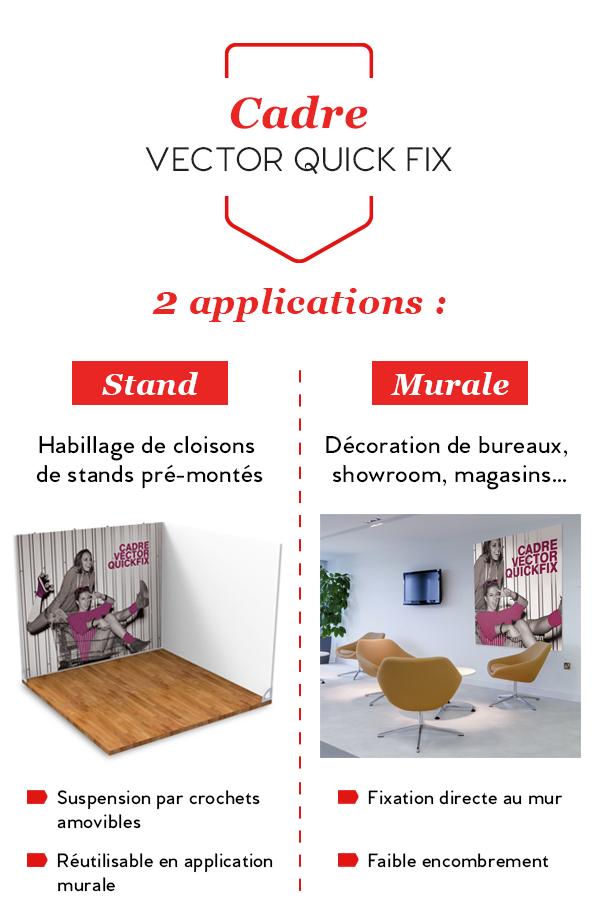 Cadre mural textile Vector Quick Fix, stand ou mural