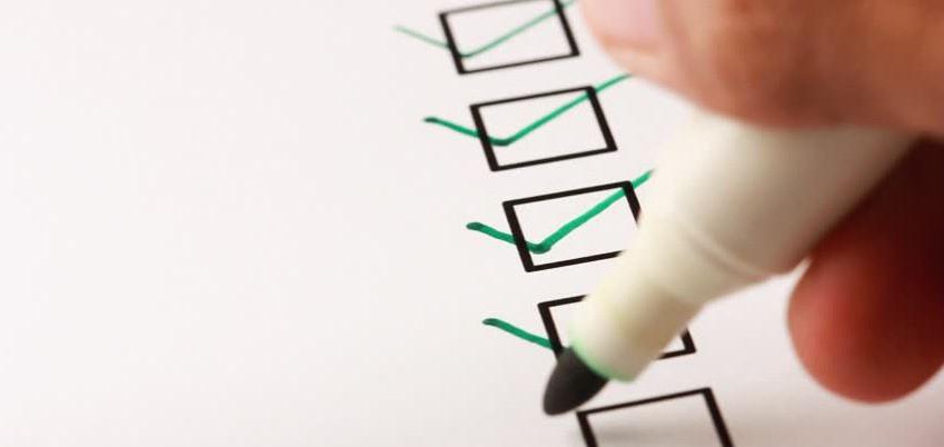 Ticking off a checklist.