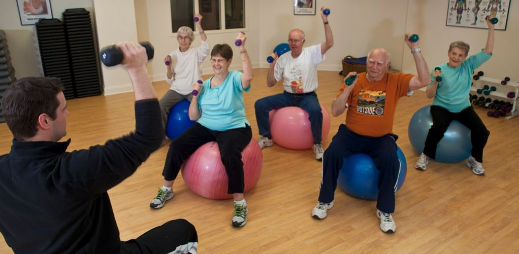Older adults in an small exercise group.