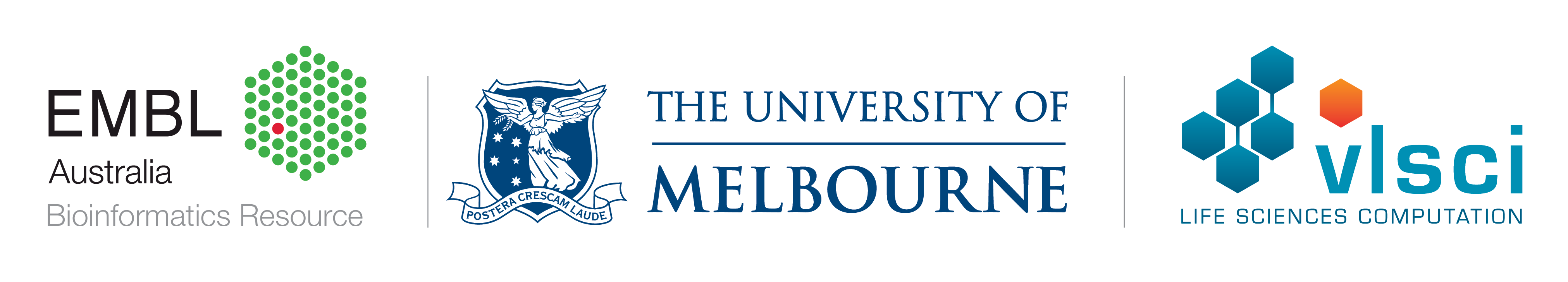 The EMBL, University of Melbourne and VLSCI's logos