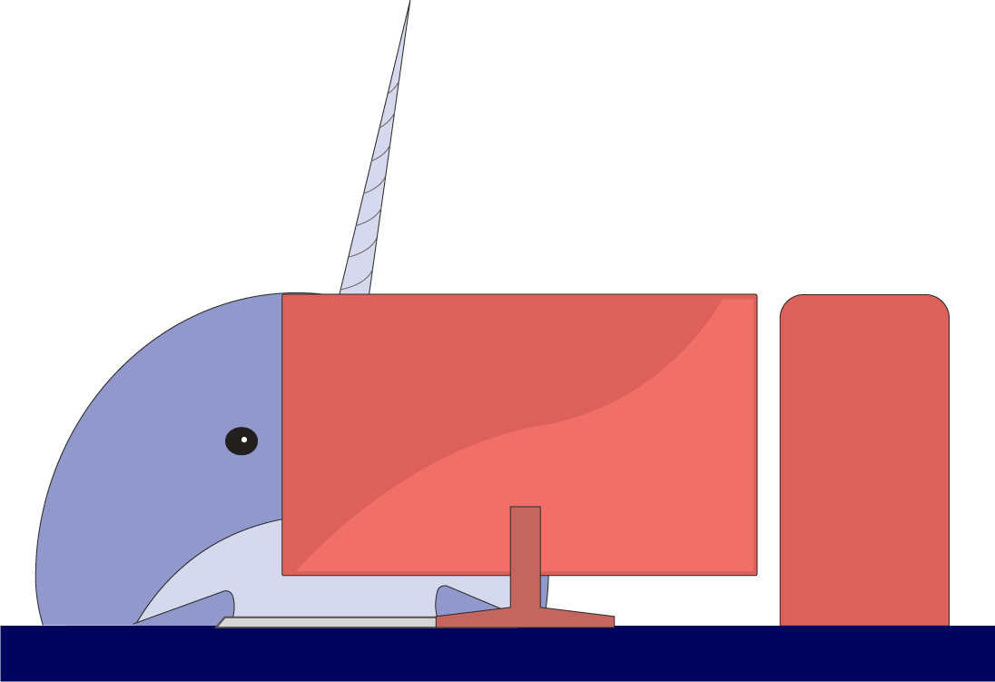 The logo of Sonar, a narwhal, sitting behind a computer screen