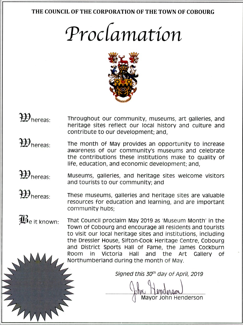 Mayor Proclaims May as Museum Month