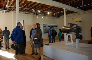 Visitors in the exhibit gallery