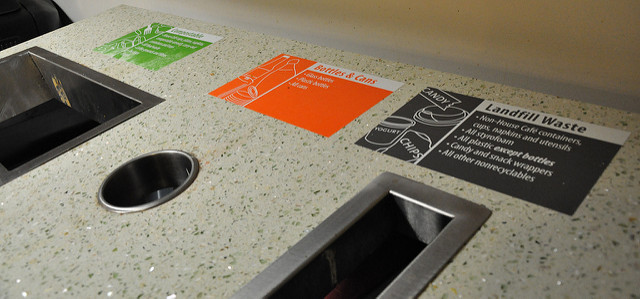 clearly-labeled waste station with three options