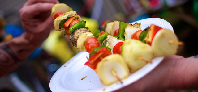 Veggie kebabs on a plate