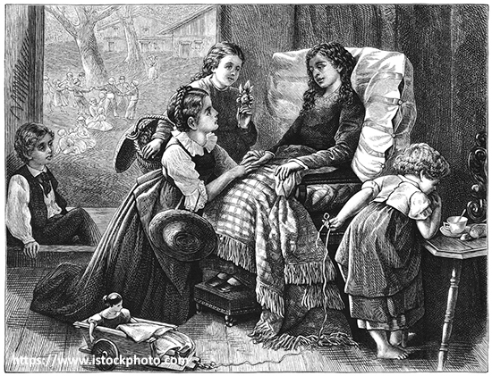a drawing of children caring for someone who appears to be ill