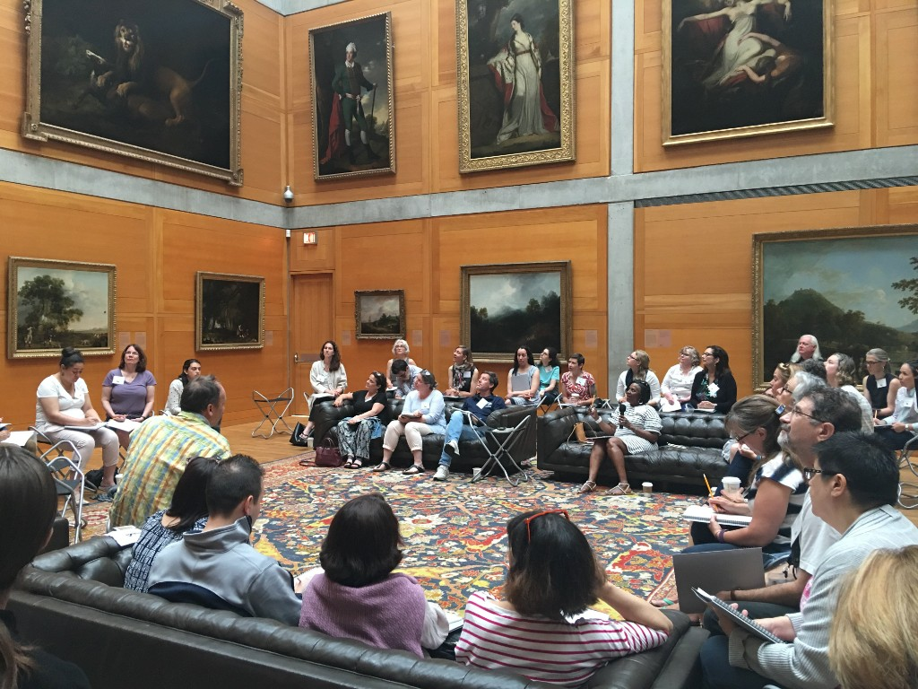 Educators in the Library Court, Yale Center for British Art, photograph courtesy of the Education Department