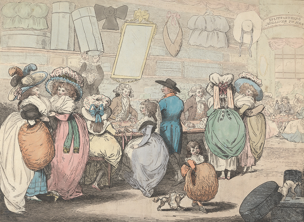 Attributed to Henry Kingsbury, A Milliner's Shop, 1787, hand-colored etching on paper, Yale Center for British Art, Paul Mellon Collection