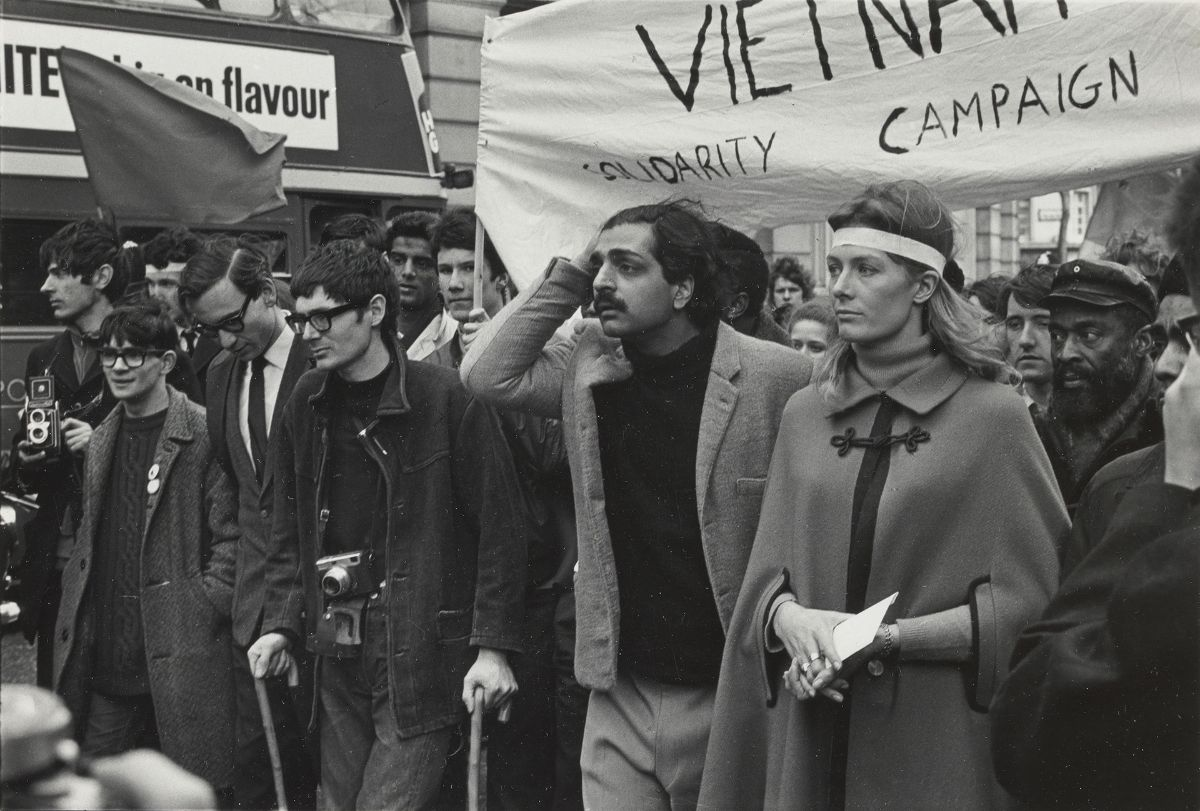 Lewis Morley, Tariq Ali and Vanessa Redgrave, Anti-Vietnam War Demonstration, London, 1968, gelatin silver print on semigloss photographic paper, Yale Center for British Art, Gift of Dr. J. Patrick and Patricia Kennedy