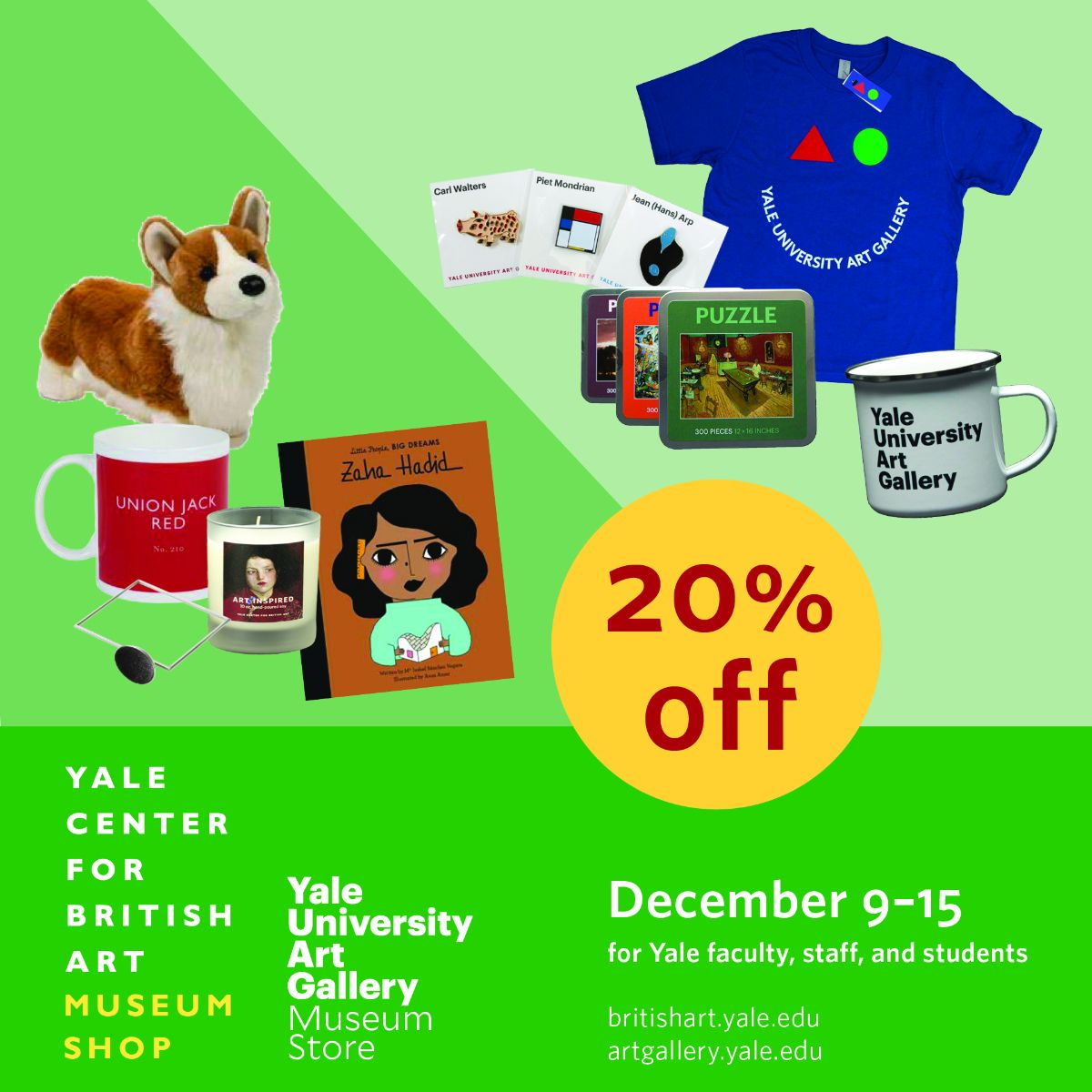 Yale Shopping Week, Yale faculty, staff, and students receive 20 percent off entire purchases December 9–15, 2019