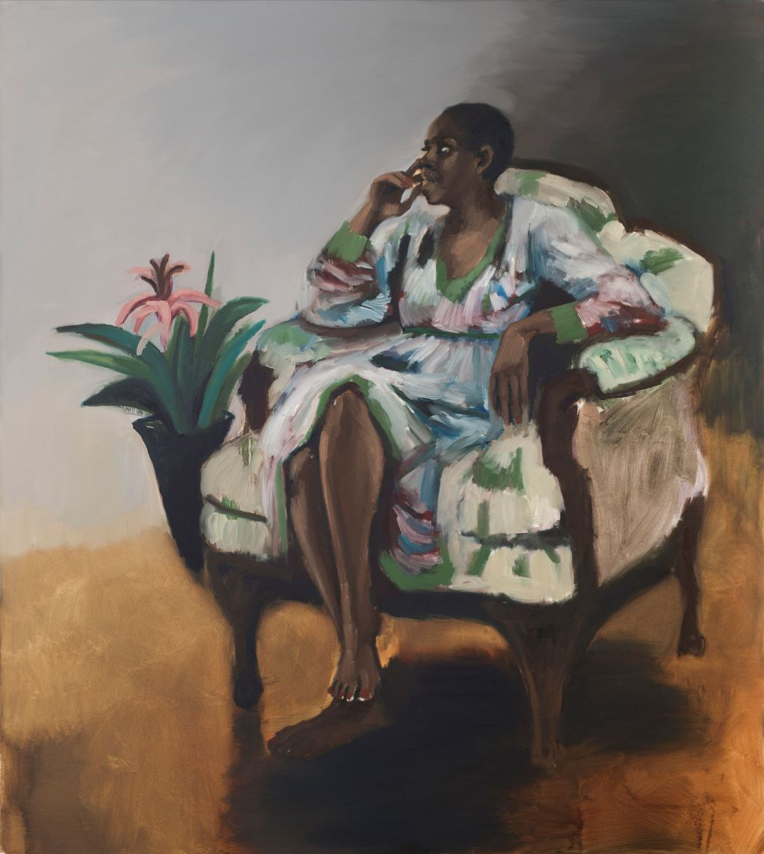 Lynette Yiadom-Boakye, 1 pm, Mason's Yard, 2014, oil on canvas, Private Collection, © Lynette Yiadom-Boakye, courtesy of the artist, Jack Shainman Gallery, New York, and Corvi-Mora, London