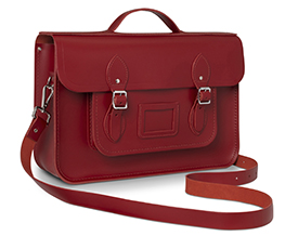 Classic Batchel in red leather, courtesy of the Cambridge Satchel Company