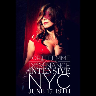 Image of Midori in a red latex dress and red lace mask. Text: ForteFemme Women's Dominance Intensive NYC June 17 - 19