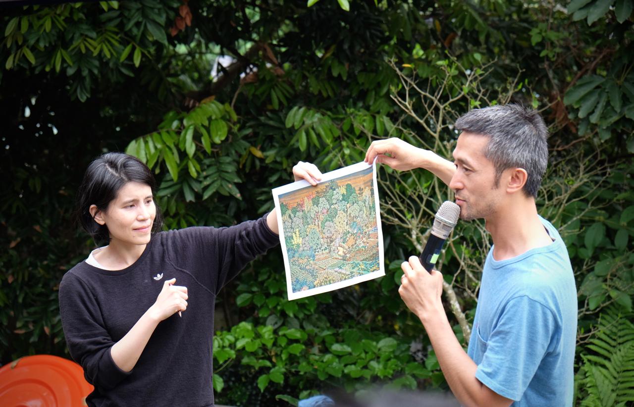 王文心與鄭波以郭雪湖的畫作〈新霽〉中所描繪的景觀說明其發想的靈感