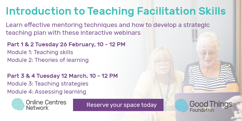 Introduction to teaching facilitation skills. Learn effective mentoring techniques and how to develop a strategic teaching plan with these interactive webinars. Part 1 & 2 Tuesday 26 February, 10 - 12pm. Module 1: Teaching skills, module 2: theories of learning. Part 3 & 4 Tuesday 12 March, 10 - 12 pm. Module 3: Teaching strategies, module 4: assessing learning. Reserve your space today.