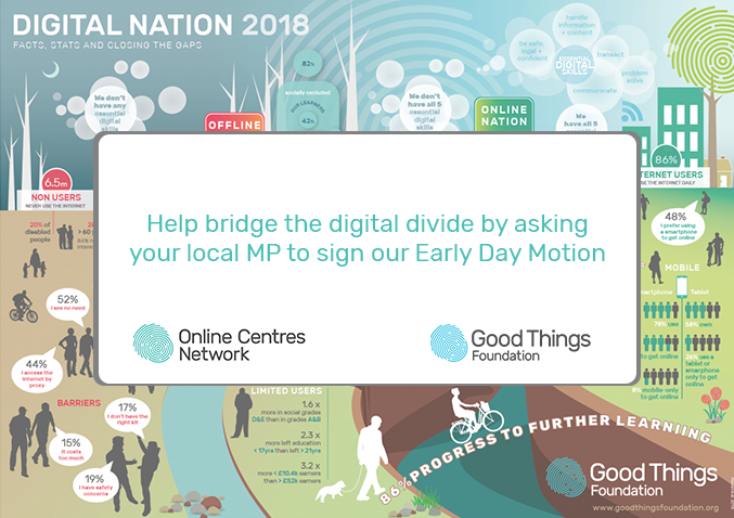 Help bridge the digital divide by asking your local MP to sign our Early Day Motion. Online centres network logo, good things foundation logo