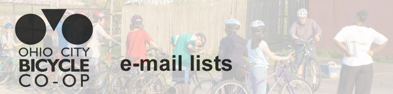Ohio City Bicycle Co-op :: E-mail Lists