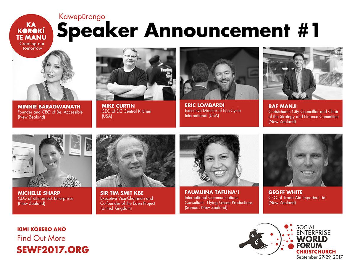Speaker Announcement 1 for Social Enterprise Word Forum 2017.