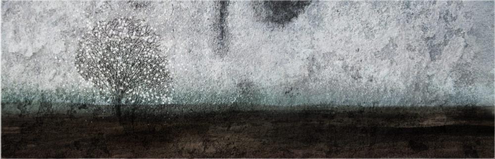 """Uutiskirjeen otsikkokuvana on Päivi Hintsasen pigmenttimustevedos """"Lumen pesä"""", 2012."""