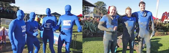Avatar blue morph suits at Mud Sweat & Tears
