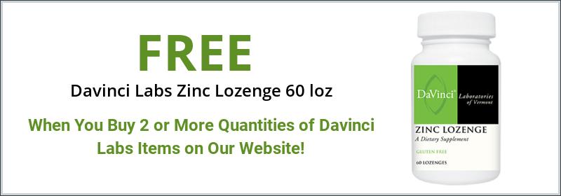Free Davinci Zink Lozenge 60 loz with purchase