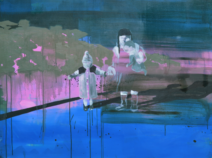 Elle tient fort ma main, Huile et acrylique sur toile, 130x97 cm, ACO