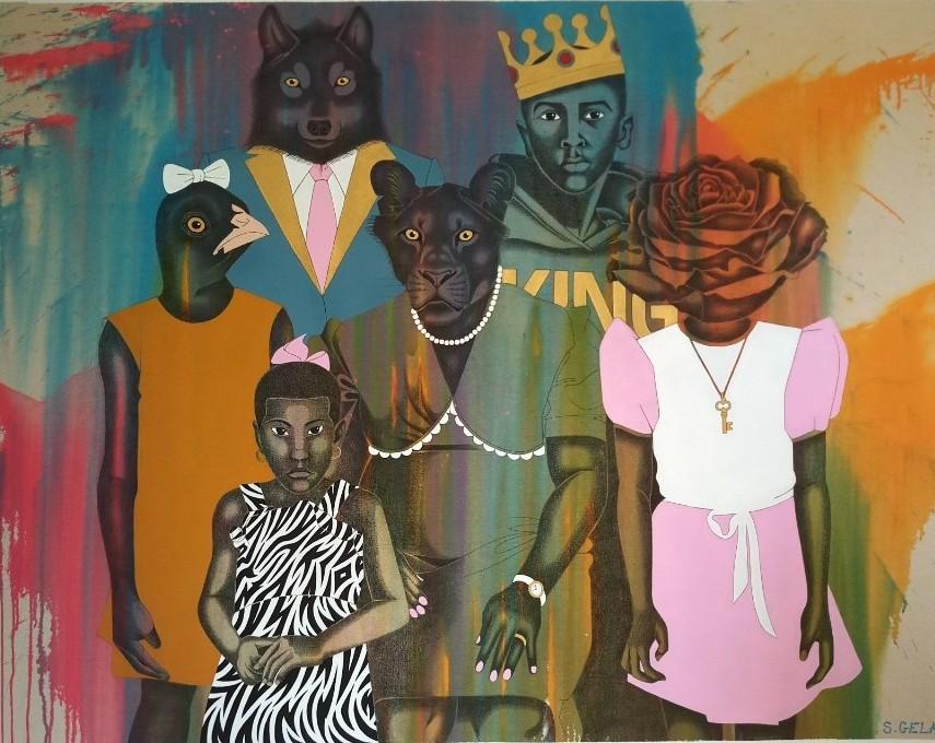 Extrait de l'exposition Désir Cannibale, Portrait de famille, Pierre noire et peinture acrylique sur toile, Samuel Gelas©