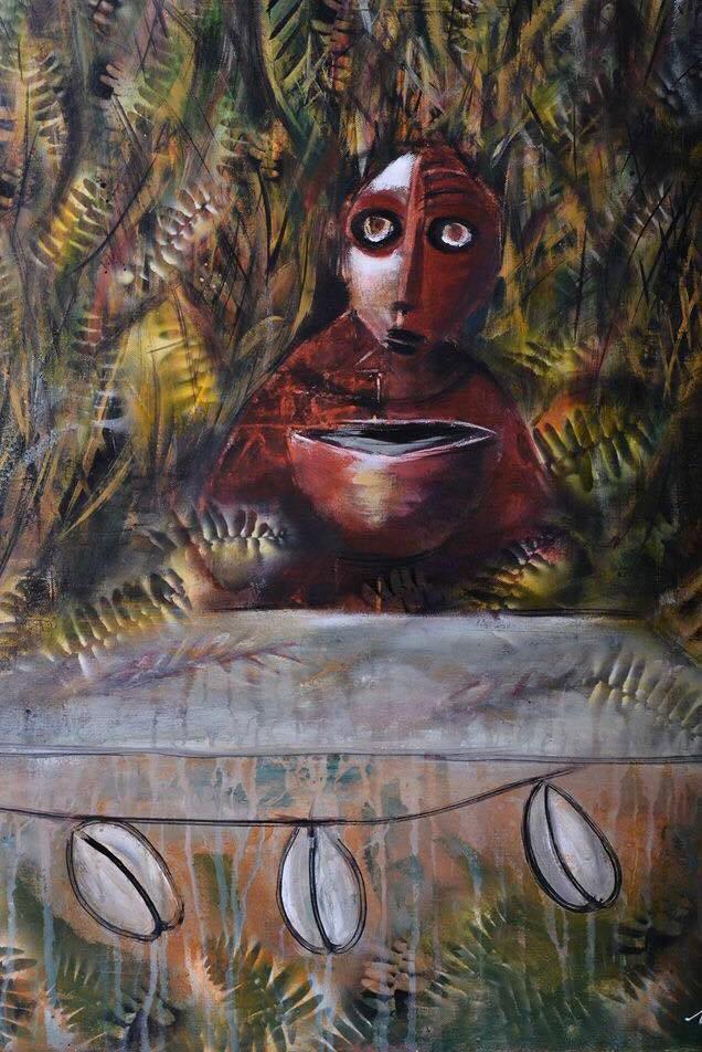 Extrait de l'exposition Grenn Sèl, Acrylique et encre, Atelier-Galerie Joël NANKIN©