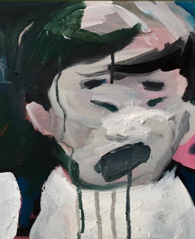 Elle pleure, huile et acrylique, 35x27 cm, ACO