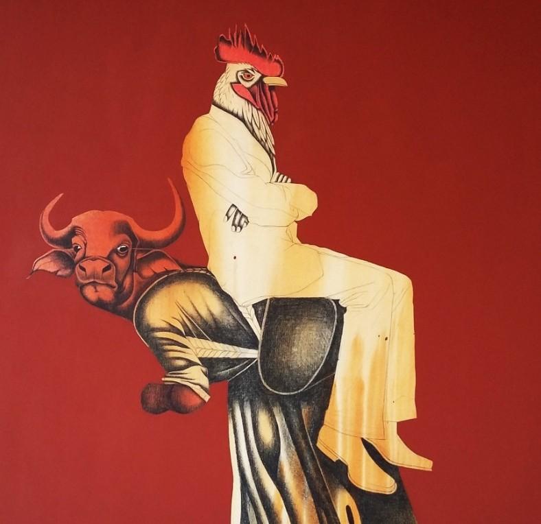 Extrait de l'exposition Jungle Sociale, Servitude, Pierre noire et peinture sur toile libre, Samuel Gelas©