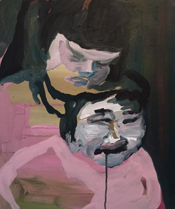 Sœurs, huile et acrylique sur toile, 55x46 cm, ACO