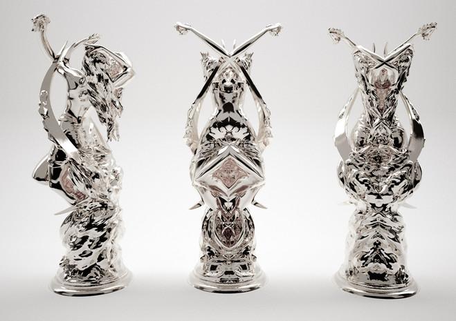Lune Rorschach, Bronze argenté, Studio Wim Delvoye