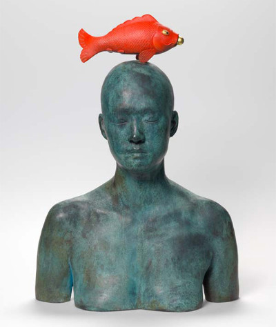 Metaphysica: Red Fish, Bronze, brass & oil paint, Ah Xian