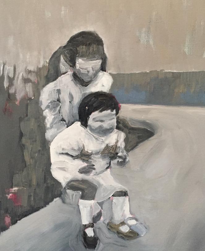 Deux sœurs, huile sur toile, 46x38 cm, ACO