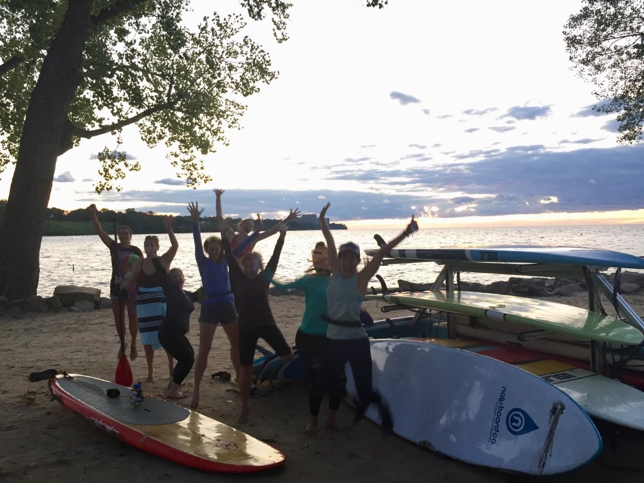 Sunset SUP joyful yogis @ Lake Erie, Cleveland   Aug 2019