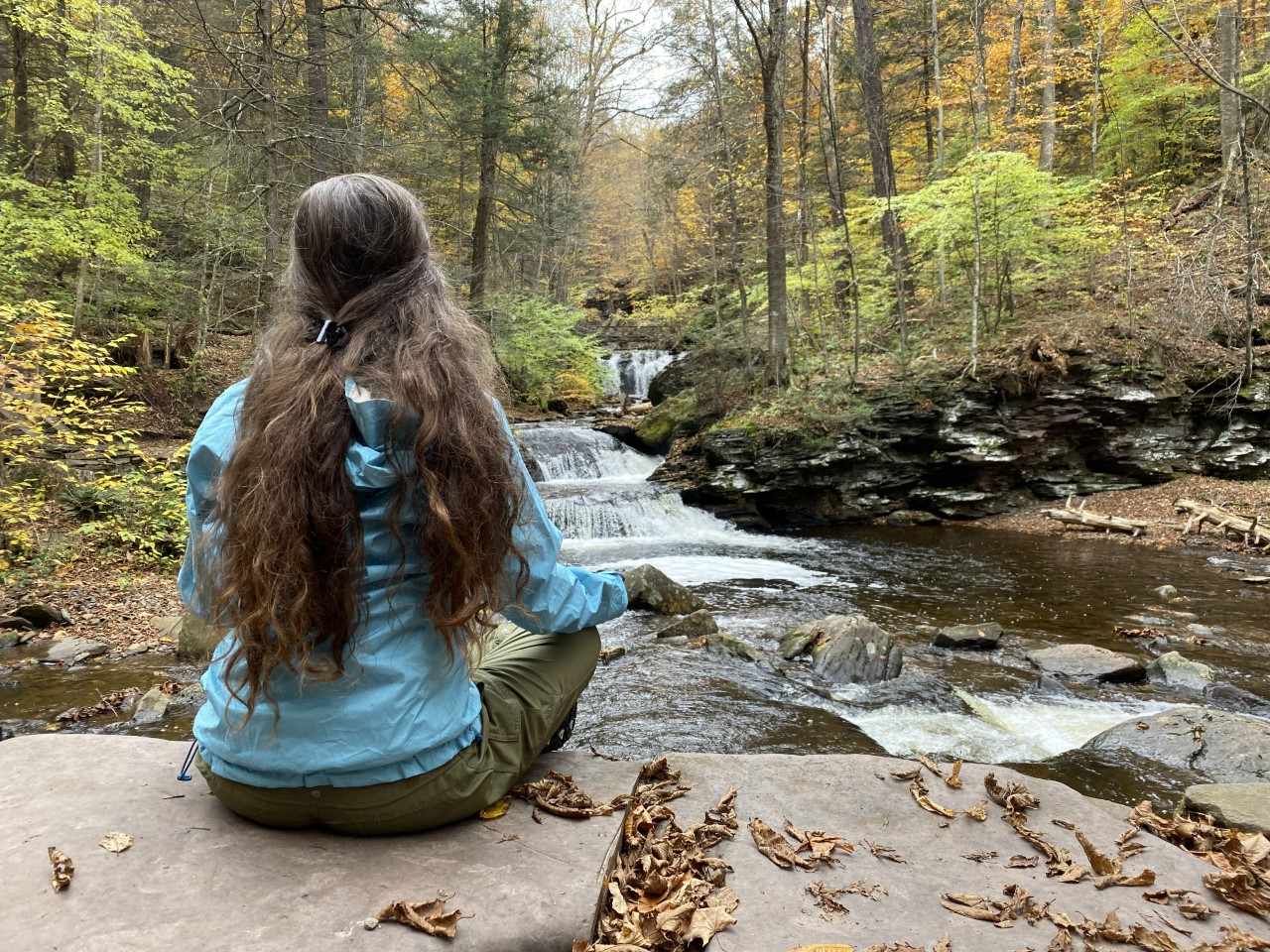Lisa taking in fall beauty at Ricketts Glen State Park | Oct 25, 2019