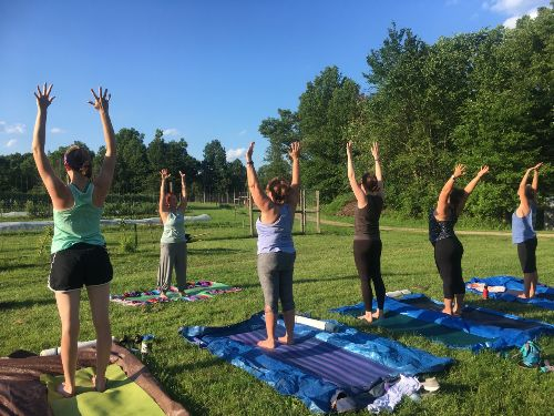 Jil leading yoga @ Greenfield Berry Farm | June 2019
