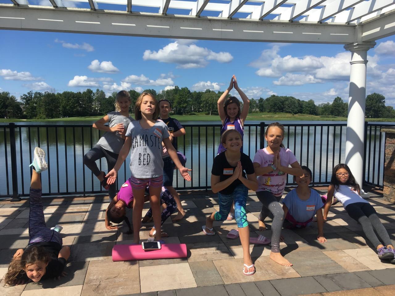 Birthday party yoga fun @ Forest Lake, Hudson, Aug 2019