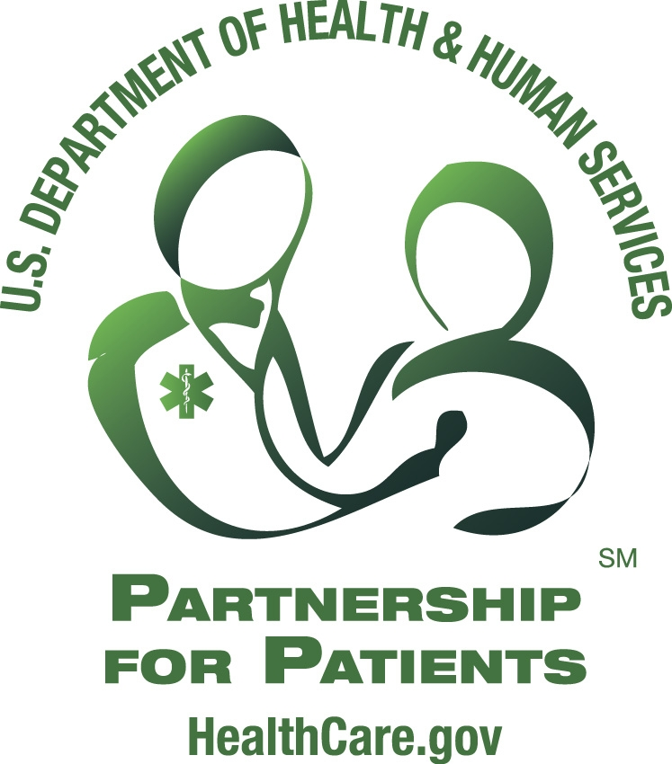 The Partnership for Patients logo. At the top of the logo it says, U.S. Department of Health and Human Services.  The logo has a silhouette of a care provider and a patient in the middle. Just below the care provider and patient, the logo says, Partnership for Patients. The bottom of the logo reads, HealthCare.gov. All images on the logo are in green.