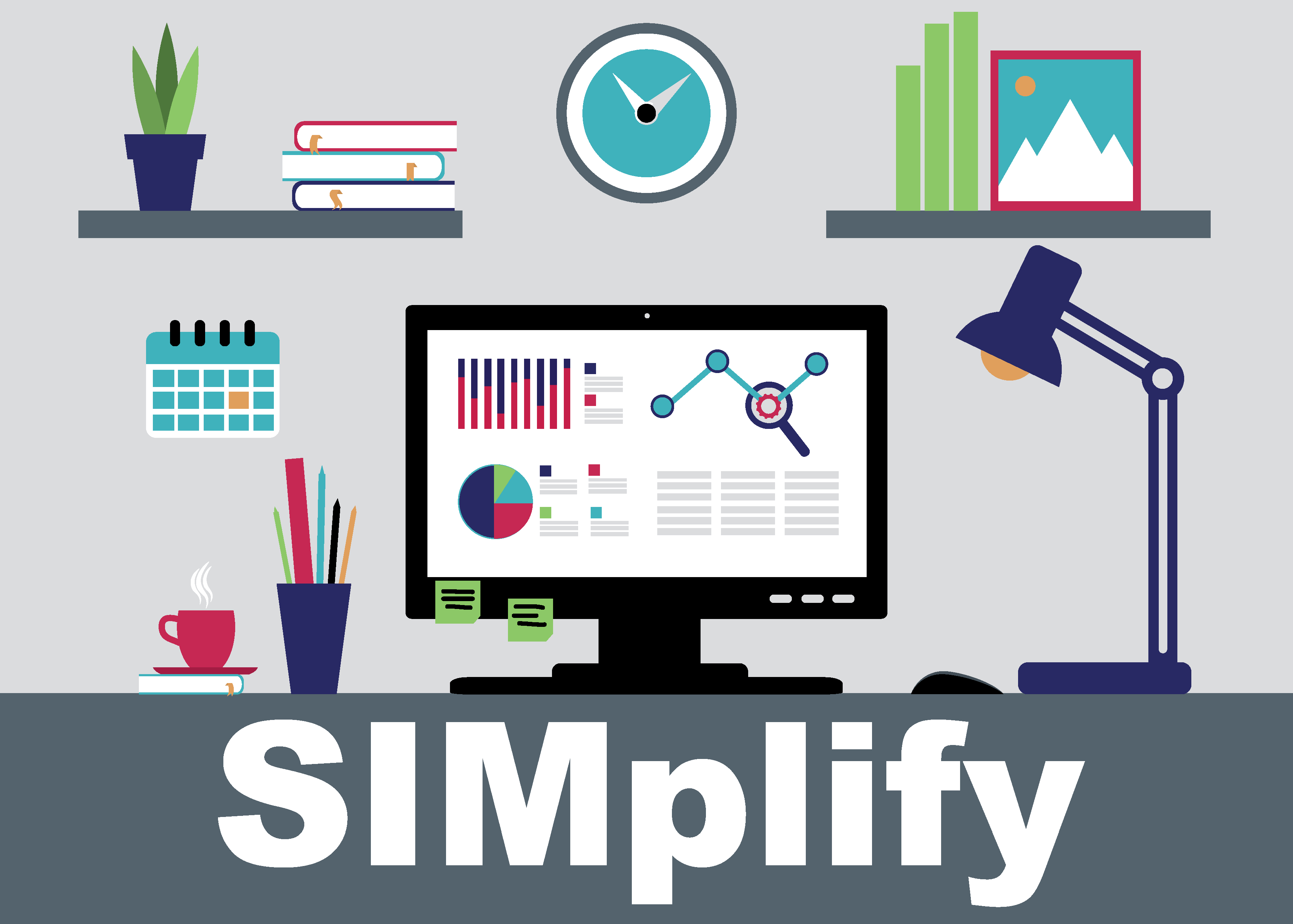 State Innovation Model of Iowa's (SIM) monthly SIMplify newsletter header image including a desktop computer.