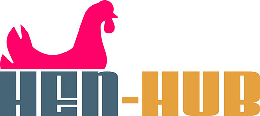 HEN-HUB with chicken sitting on the word HEN