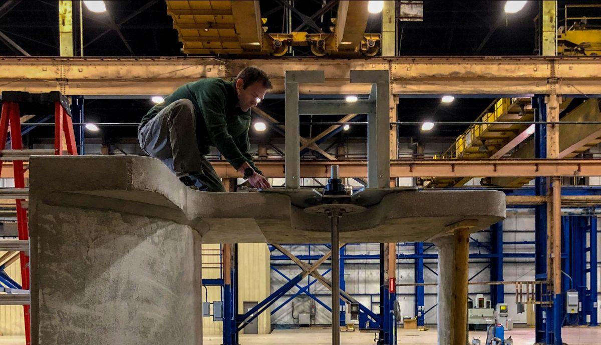Chief Engineer Brandon Steele works on assembling the Beta unit