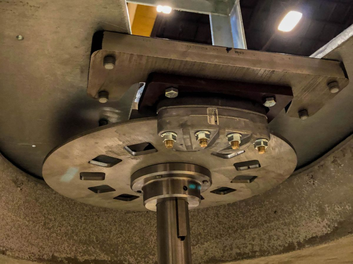 Close up of the disk brake on a turbine rotor