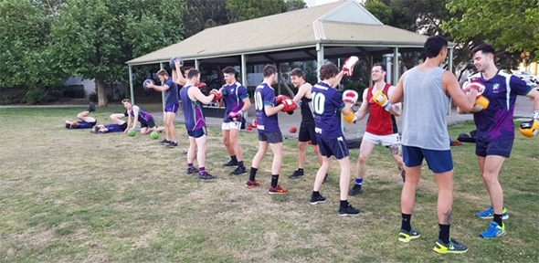 Brunswick Football Club men at 2019 preseason training