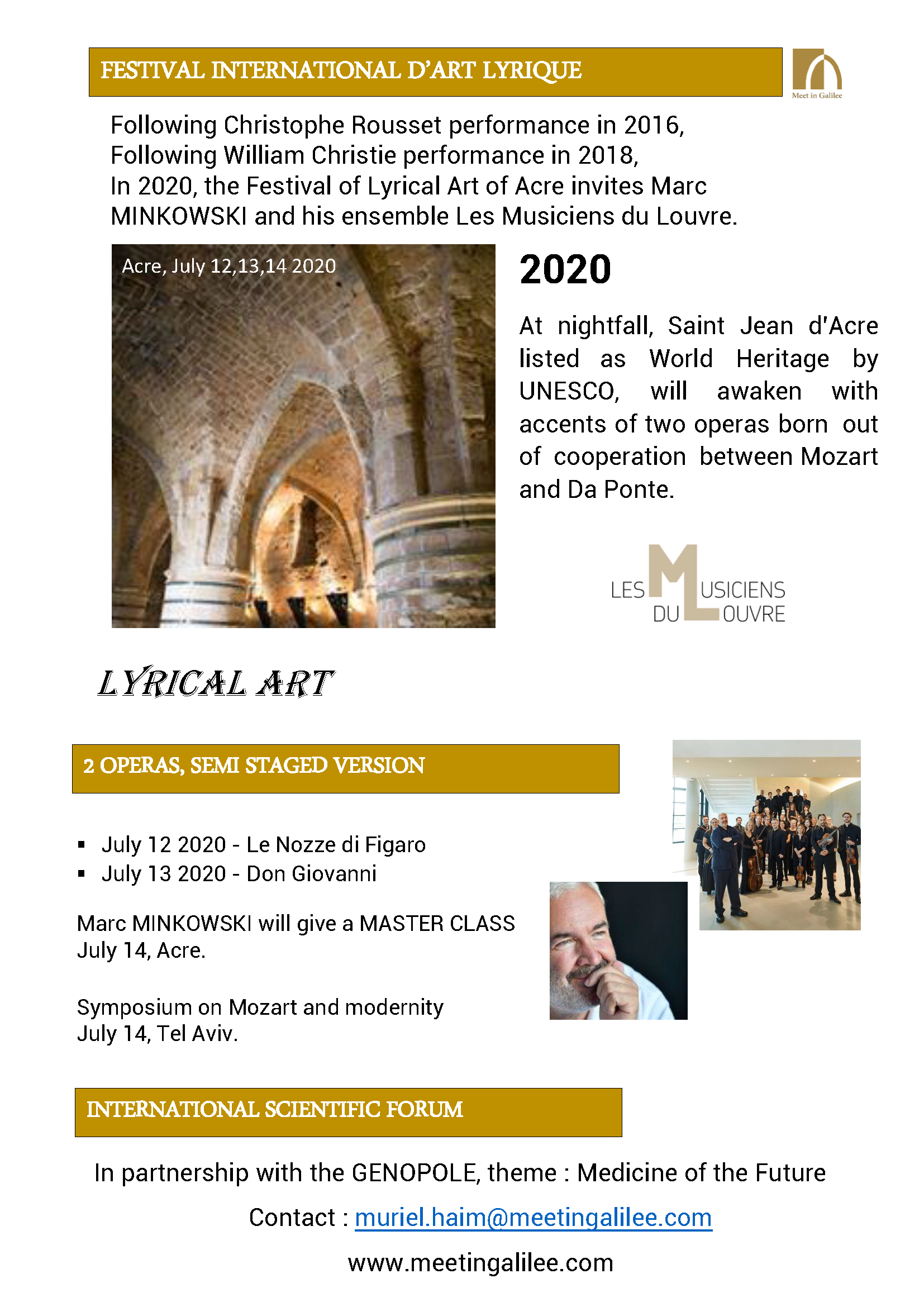 Discover Mozart in Galilee - July 12 &13 2020
