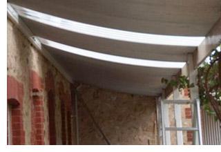 verandah with transparent polycarbonate sheets