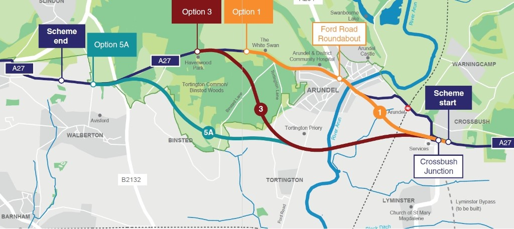 Map documenting proposed routes for A27 Arundel