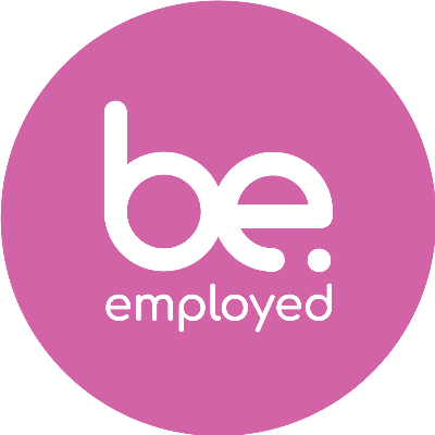 The Be. Employed logo in pink