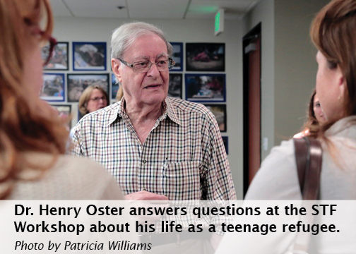 Photo: Henry Oster speaking with students